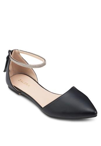 鍊飾esprit台灣官網踝帶平底鞋, 女鞋, 鞋