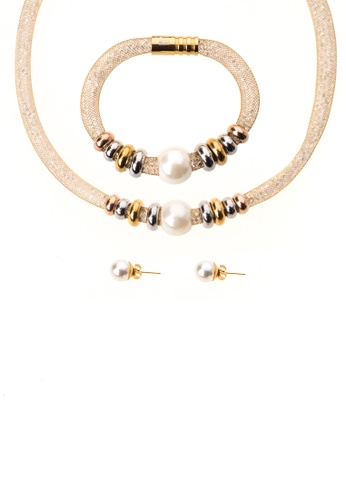 Emo Gold Swarovski Mesh Necklace Earrings And Bracelet Set With 3 Tone Charm
