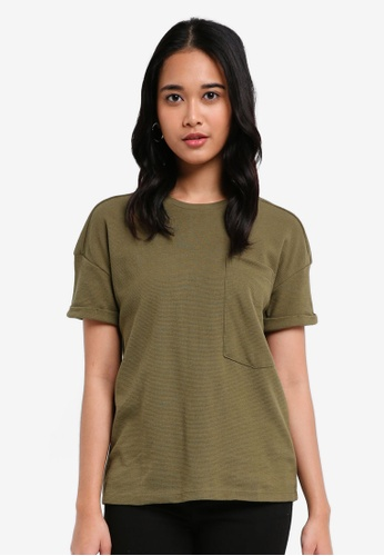 Penshoppe green The Dress Code Relaxed Fit Tee With Pocket B1BE8AA170BB2FGS_1