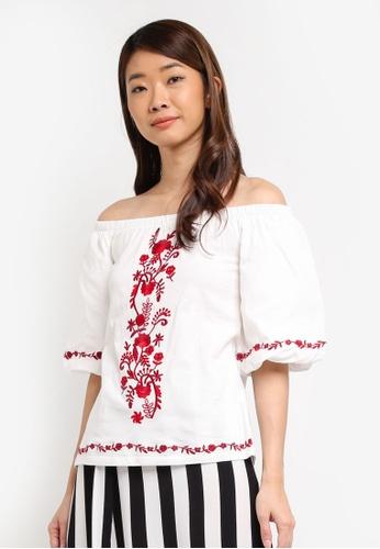 53e9af9228be11 Buy Dorothy Perkins Ivory Woven Sleeve Bardot Top Online on ZALORA ...