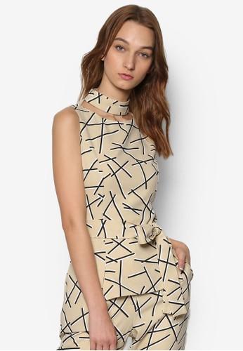 圍脖圓領抽象印花無袖上衣, 服飾, 上zalora是哪裡的牌子衣