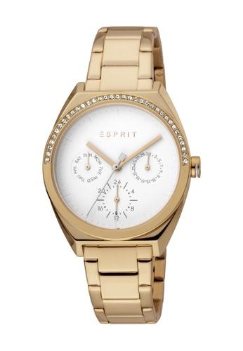 Esprit gold ESPRIT [Slice Multi Stones] 34mm Rose Gold Stainless Steel Band Women Watch [ES1L099M0075] 7A177AC15319FCGS_1