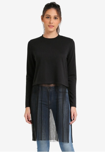 Something Borrowed black Layered Tulle Sweater Top C2024AA2F15CBAGS_1