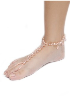 Jhoanna Crystal Anklet with Toe-Ring Uniquely Handmade