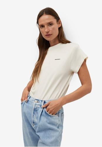 Mango white Logo Organic Cotton T-Shirt C7C81AAB8E29B5GS_1