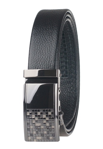 FANYU black Men Slide Buckle Automatic Ratchet Full Grain Leather Belt FA549AC68CMTSG_1