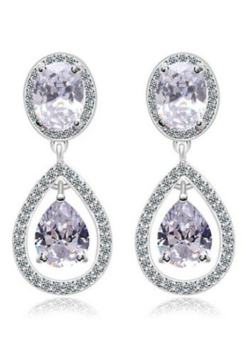 Vivere Rosse silver Grandeur Diamond Simulant Link Earrings in Tear Drop Cut VI014AC74ZWNMY_1