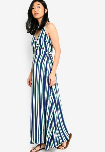 Something Borrowed green and multi Sleeveless Wrap Maxi Dress BC79BAAC05DC14GS_1