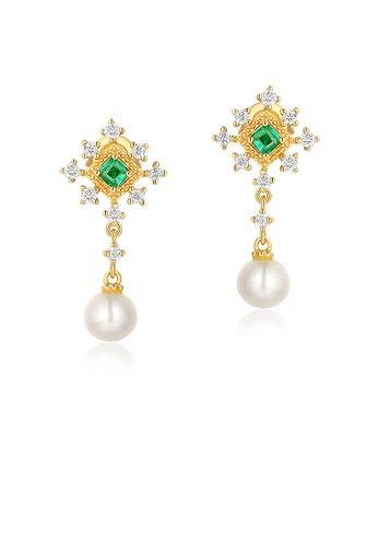 SUNSET 金色 Premium 9K Plate Gold  Pearl Earring 98454AC750D2B7GS_1