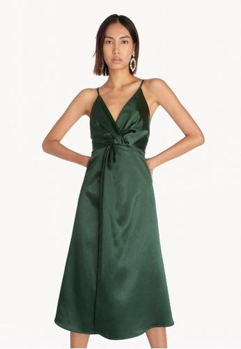 Pomelo green Satin Front Knot Slip Dress - Green 1F97DAA626CEEBGS_1