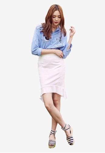 弧形荷葉下esprit 內衣擺及膝短裙, 服飾, 洋裝