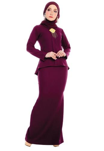 SARIMA black and red Kebaya Muslimah Fashion Burgundy Red 1CCB8AA8008F25GS_1