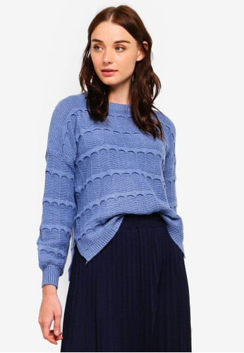 BYN blue Ribbed Knit Sweater 16027AAEF26BADGS_1