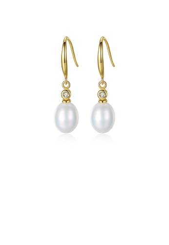 Glamorousky white 925 Sterling Silver Plated Gold Fashion Elegant Freshwater Pearl Earrings with Cubic Zirconia 928C6AC14B228CGS_1