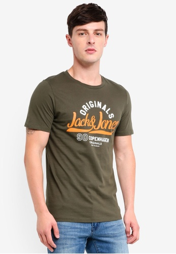 Jack & Jones 綠色 Art Newbright LOGO圓領T恤 ADEC3AAB56B60CGS_1