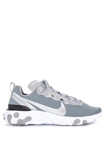 Nike grey Nike React Element 55 Shoes 11419SH59D6755GS_1
