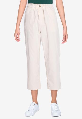 ZALORA BASICS beige Paperbag Cropped Pants 3EF6CAAC1F0A49GS_1