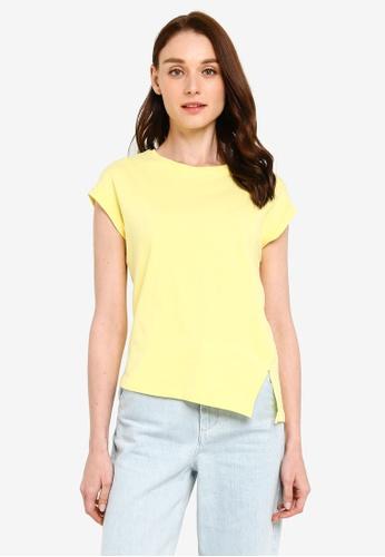 UniqTee yellow Split Hem Sleevless Top 7191BAA2D01644GS_1