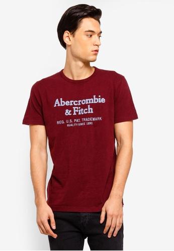 Abercrombie & Fitch 紅色 LOGO刺繡T恤 1DD50AAE132F74GS_1