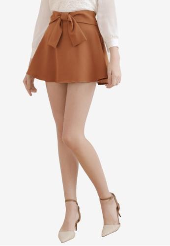 Eyescream brown Knot Front Skater Skirt A4477AA13A0B40GS_1