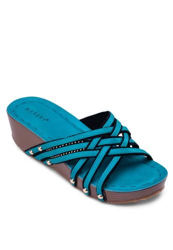 交叉編織帶厚底zalora 鞋評價涼鞋, 女鞋, 楔形涼鞋