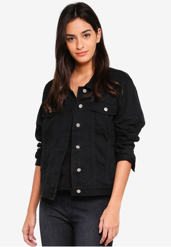 ZALORA BASICS black Denim Jacket 3A05EAA7C8578AGS_1