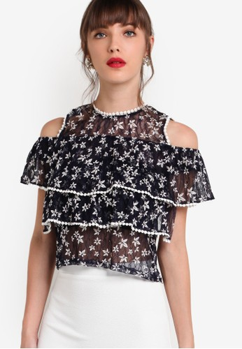 Miucca 碎花層次薄紗挖肩短袖上衣esprit 童裝, 服飾, 上衣