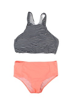 Monochrome Stripes High Waist Swimwear