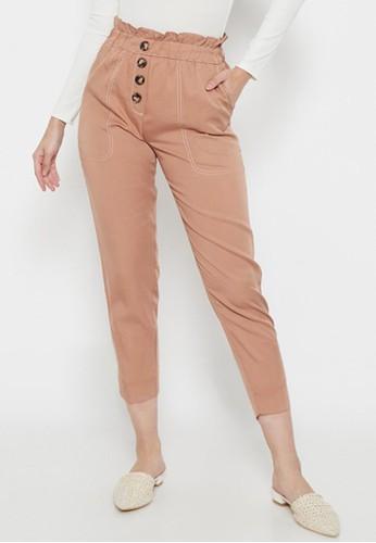 Odiva Woman brown HESYA BUTTON STRAIGHT  PANTS BROWN 3AA18AAFB2B3D4GS_1