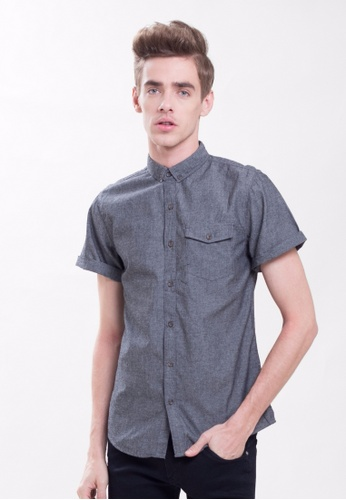 Drum grey Chambray Shirt With Pocket-Black C5DF3AA81C8E79GS_1