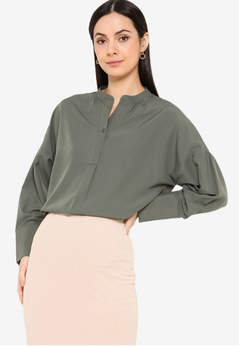 ZALIA BASICS grey Relaxed Placket Shirt AC015AA32783D3GS_1