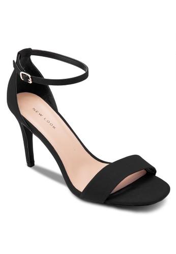 麂esprit 寢具皮一字帶繞踝高跟涼鞋, 女鞋, 鞋