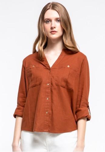 et cetera brown V-neck Shirt EEC64AA8C8655AGS_1