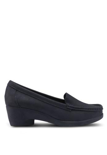 Noveni 黑色 粗跟懶人楔型鞋 7BDE3SH008BB0EGS_1