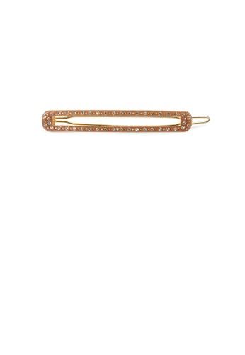Glamorousky white Fashion Simple Brown Geometri Strip Hair Clip with Cubic Zirconia BA077AC71260D0GS_1