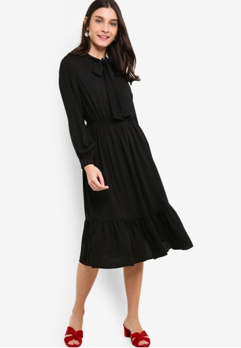 ZALORA black Long Sleeves Bow Tie Dress 77EC9AA21AE068GS 1 d5a4ba094
