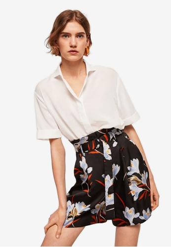 Mango black Floral Print Shorts A422BAAB456516GS_1