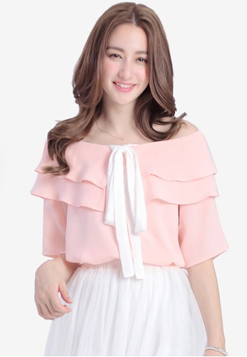 Yoco pink Off The Shoulder Tiered and Ruffle Top 10632AA88A1E09GS_1