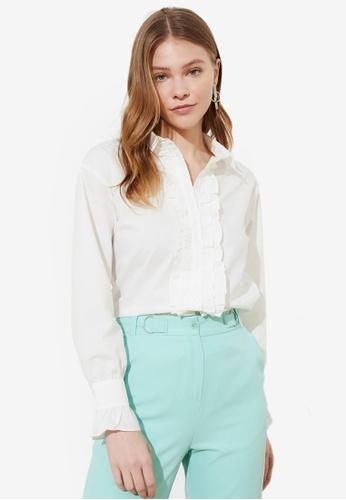 Trendyol white Ruffle Trim Button Down Blouse 687F5AA6985FFAGS_1