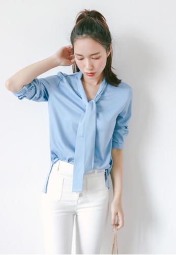 Shopsfashion blue Tie a Knot Shirt in Blue SH656AA36IDVSG_1