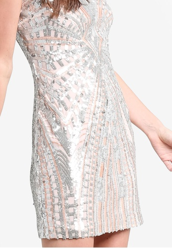 18600218f59672 Buy Miss Selfridge Premium Silver Sequin Chinoiserie Dress Online on ZALORA  Singapore