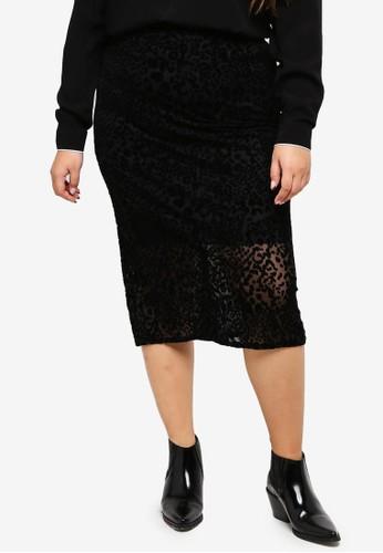 ELVI black Plus Size Animal Flock Print Skirt C9EF1AAACC95FFGS_1