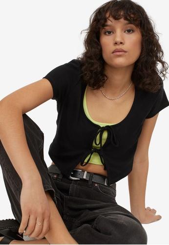 H&M black Tie-Front Top 9377CAA663ECD0GS_1