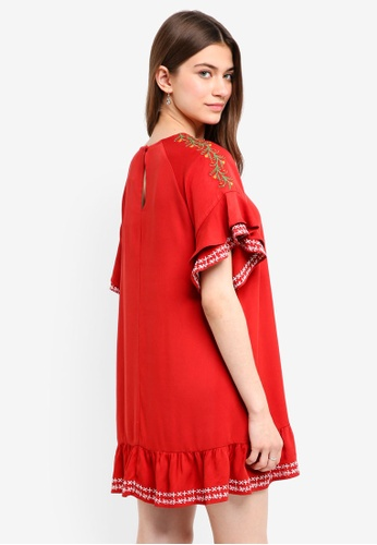 Something Borrowed red Embroidered Ruffles Swing Dress BEB67AAAE47FA9GS_1