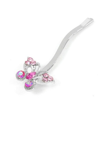 Glamorousky pink Dazzling Butterfly Hair Clip with Pink CZ and Austrian Element Crystals (1 pc) 63577ACFA23C16GS_1