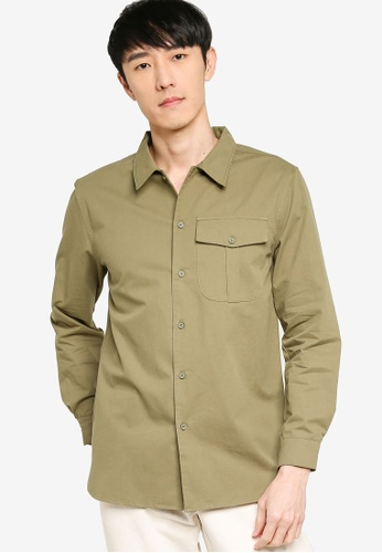 ZALORA BASICS green Regular Fit Single Pocket Utility Shirt A0910AAAA3C0D5GS_1