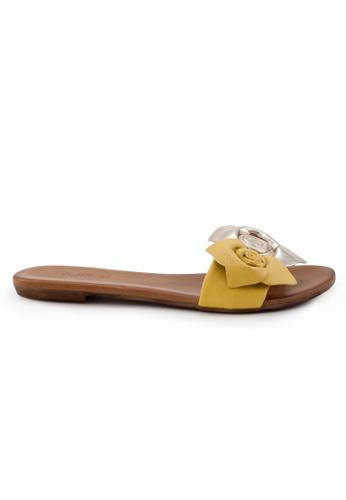 Shu Talk yellow Turkish Sweet Floral Leather Sandals SH397SH0GFJESG_1