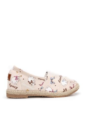 KissXXX 粉紅色 快樂貓咪圖樣美腿效果5CM內增高帆布休閒鞋 KI603SH09O56TW_1