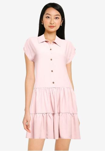 ZALORA BASICS beige Collared Tiered Dress 81240AA10DD715GS_1