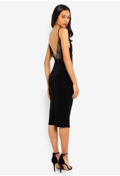 d2a2734519 MISSGUIDED black Strappy Lace Back Slinky Midi Dress C74B8AA0101B46GS_1